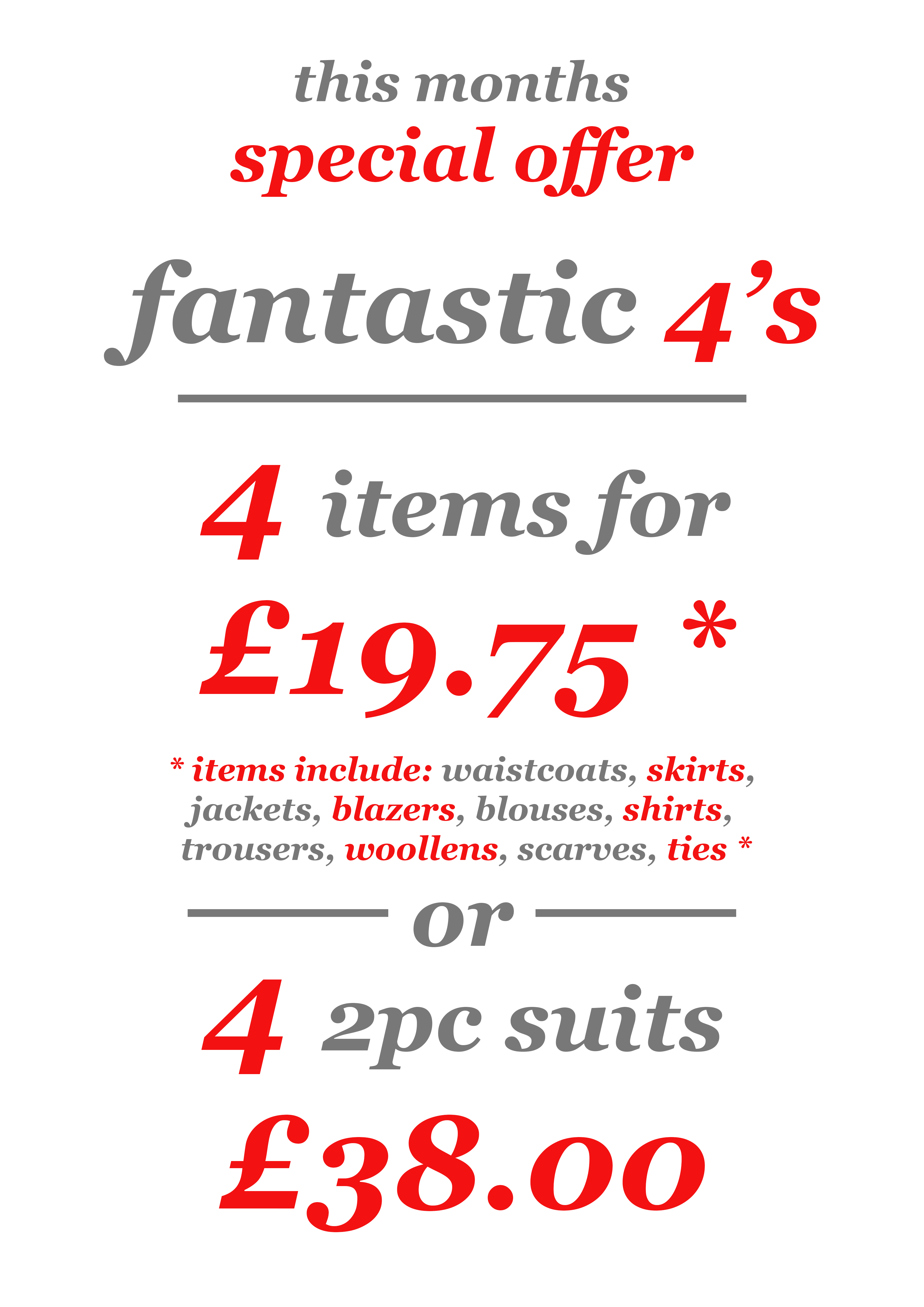 Fantastic 4's - Special Offers - 4 Items - Sunshine Dry Cleaners